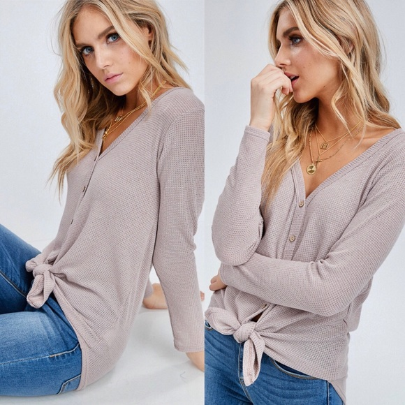 Tops - Dusty Rose Waffle Knit Tie Front Top